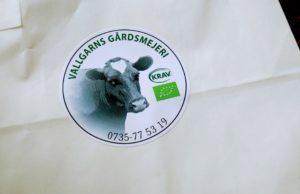 Vallgarns gårdsmejeri etikett