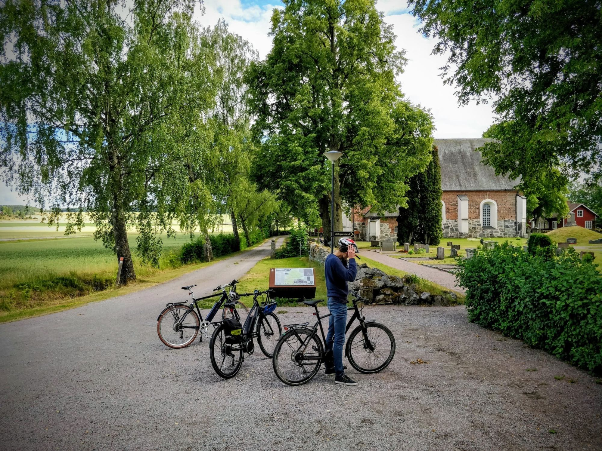 Bicycles parked in front of Nysätra church