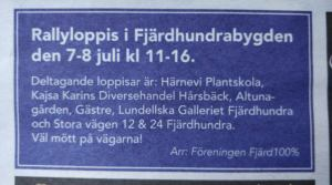 Advertisement for Rallyloppis