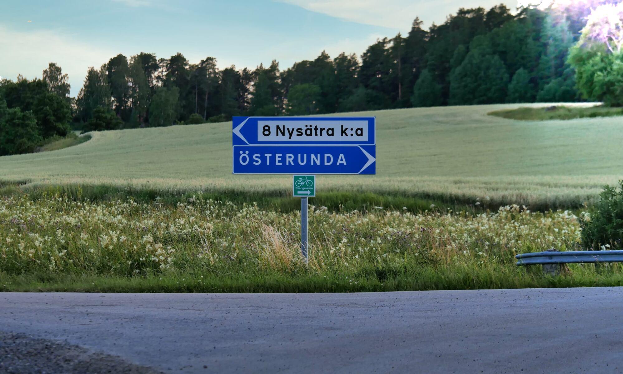 Skylt Österunda Sverigeleden